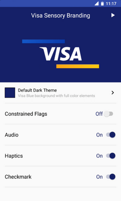 SDK Sample App allows developers the ability to customize the Visa Sensory Branding experience for solutions. Developers can customize different features.